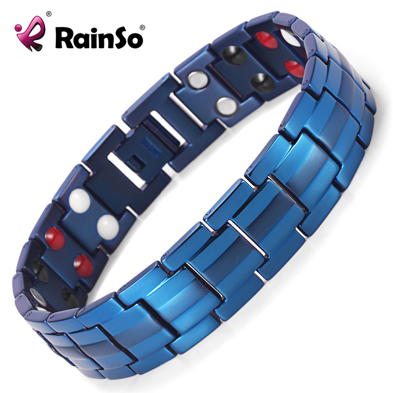Rainso Germanium Bracelets Negative ions Magnetic Elements Titanium Blue Plated Bracelet Men Accessory Sport Bangles for MenRainso Germanium Bracelets Negative ions Magnetic Elements Titanium Blue Plated Bracelet Men Accessory Sport Bangles for Men