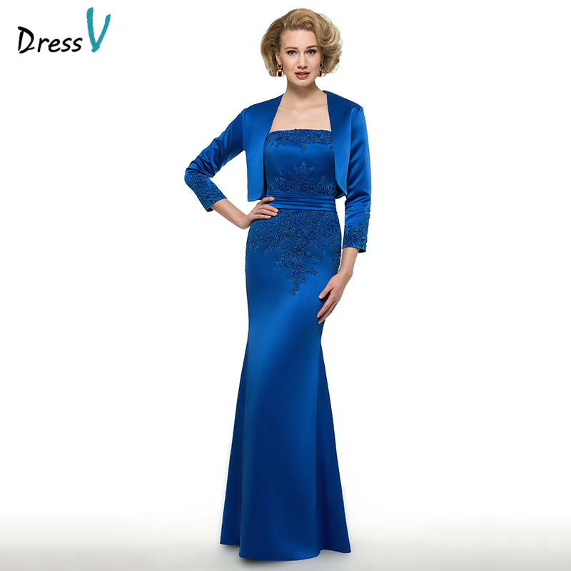 Dressv Strapless Sheath Mother Of Bride Dress With Jacket Long Sleeves Appliques Floor Length Long Mother Evening Gown Custom