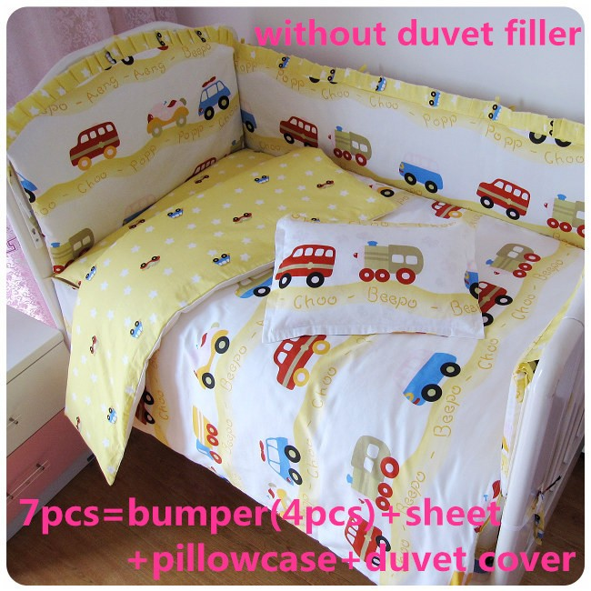 ФОТО discount! 6/7pcs baby cot bedding sets baby bedding set of unpick and wash baby set 100% cotton ,120*60/120*70cm
