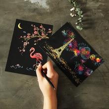Открытка вид ночного города Когтеточка рисованная бумага маленькая красочная нарисованная картина набор креативный подарок на день рождения