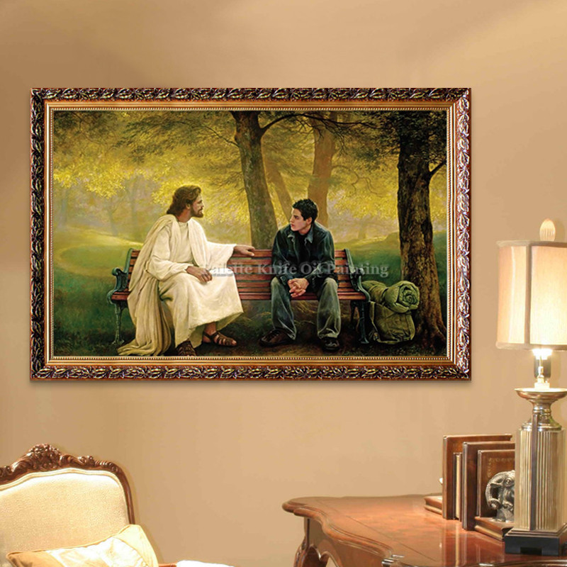 Living Room Wall Art Decor Jesus Christ Boat Oil Painting Printed On Canvas