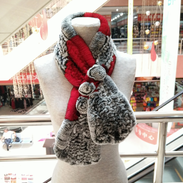 100% real knitted rabbit Fur collar scarf patchwork rex rabbit hair stole women's 6 colors winter warm lady natural fur muffler