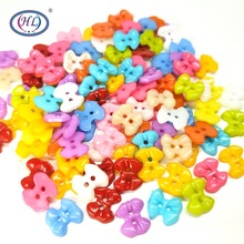 HL 50/100pcs 14MMx13MM Bowknot Plastic Buttons Mix Colors Childrens Garment Sewing Accessories DIY Scrapbooking Crafts