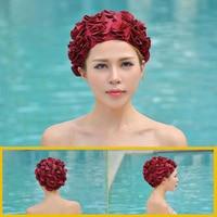 Neue Frauen Damen Vintage Style Blumen Erwachsene Bademütze größe Frei Elastic Schwimmen Bade Hut Haar schutz kostenloser versand