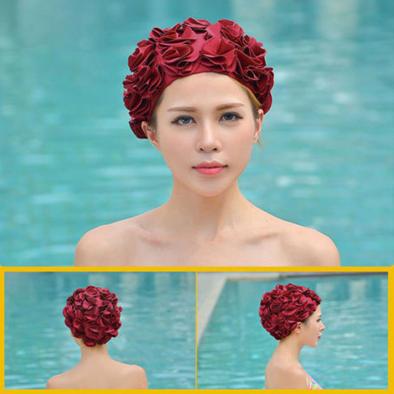 New Women Ladies Vintage Style Floral Flower Adult Swimming Cap Free size Elastic Swim Bathing Hat Hair protection free shipping free shipping hot sale new women hat fascinator cute girl pink hair accessory hair fascinator hat beautiful hairband hair clips