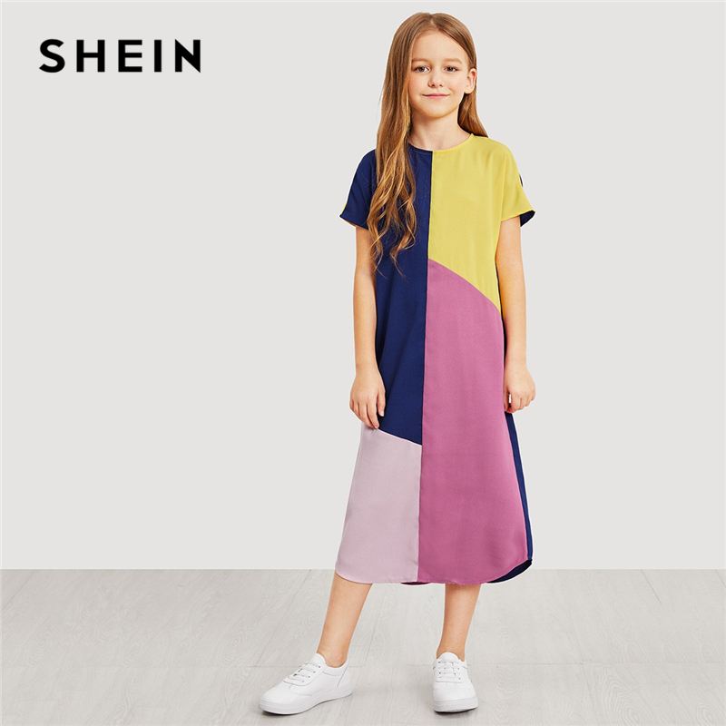 SHEIN Kiddie Girls Zipper Back Color Block Casual Long Dress Kids Clothing 2019 Summer Short Sleeve Casual Kids Straight Dresses color block split sleeve cover up
