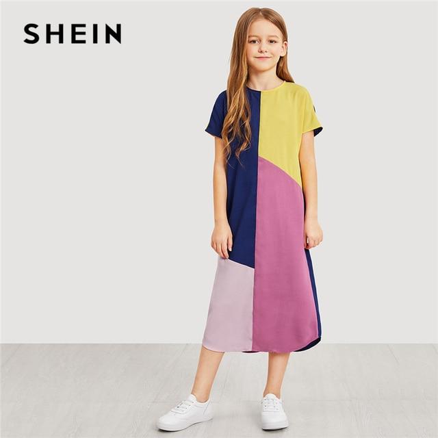 SHEIN Kiddie/повседневное длинное платье на молнии сзади для девочек детская одежда 2019 г. летние повседневные Прямые Детские платья с короткими рукавами