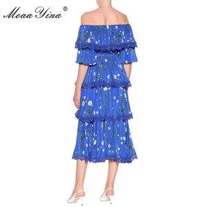 Image 3 - MoaaYina Hohe Qualität Mode Designer Runway kleid Frühling Sommer Frauen Blau Floral Print Cascading Rüschen Urlaub Kleider