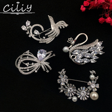 luxury fashion large cubic zircon snow flower Phoenix Swan brooches for women birds Bow pearl pin Christmas wedding jewelry