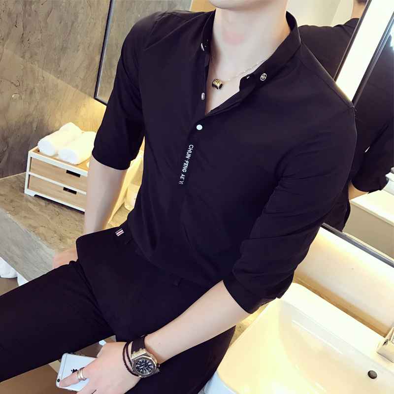 2018 New Summer Sleeve Shirt Male Korean Slim Handsome Men Clothes Personality Trend Sleeve Casual Shirt