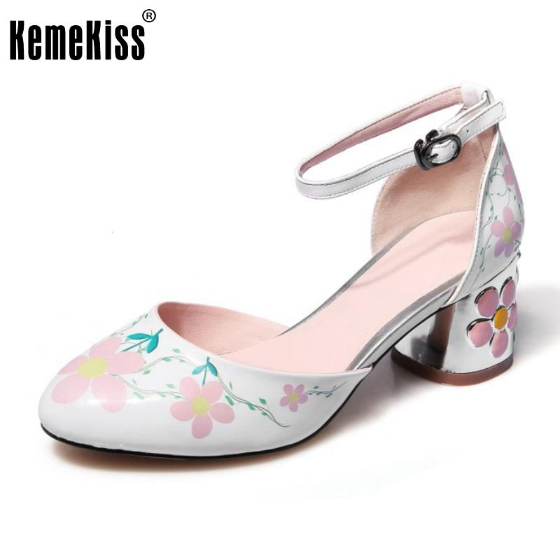 ФОТО Brand Lady Real Leather High Heel Pumps Ankle Strap Floral Pointed Toe Thick High Heeled Shoes Women Heel Footwear Size 34-40