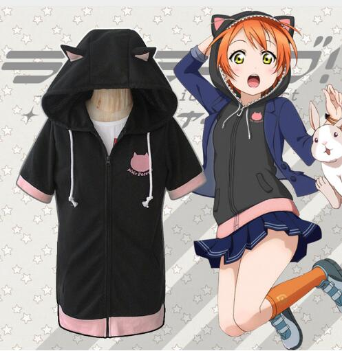 Love Live! Final LoveLive 6th Cosplay Costume Rin Hoshizora Short Sleeve Hooded Hoodie Cat Ears Coat lovelive skirt