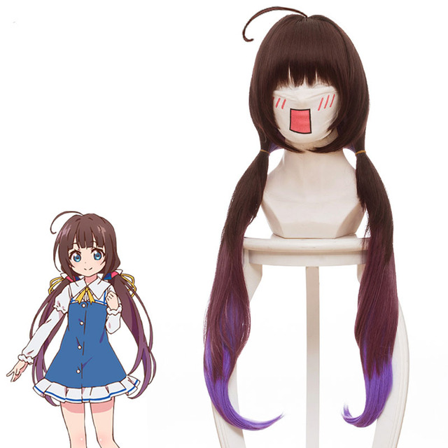 Ryuoh no Oshigoto brown and purple long hair Cosplay Wig ...
