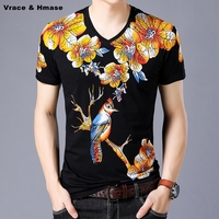 Soft And Comfortable Silk Cotton Quality Summer Short Sleeve T Shirt Chinese Style Floral Bird Pattern