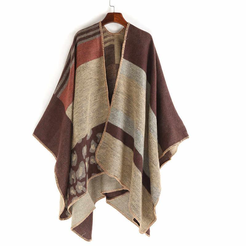 Neue Kaschmir Decke Schal Frauen Poncho Winter Wolle Stolen Leopard Streifen Schal Weibliche Lange Schal Warm Für Frauen Mantel Wrap