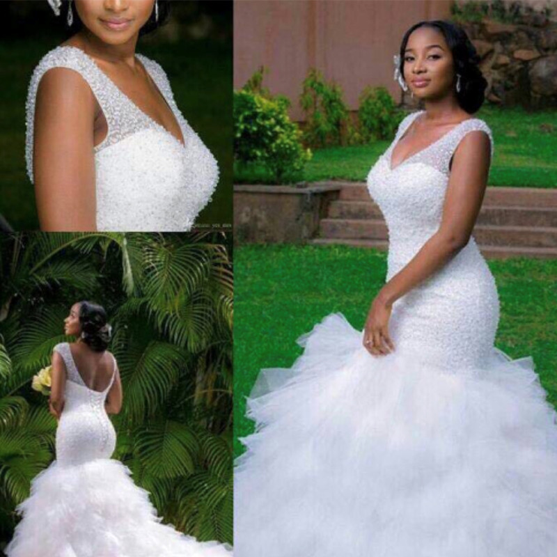 2020 New Arrival Africa Design Amazing Full Beading Mermaid Wedding Dress Stunning Ruffles Tiered Wedding Gowns