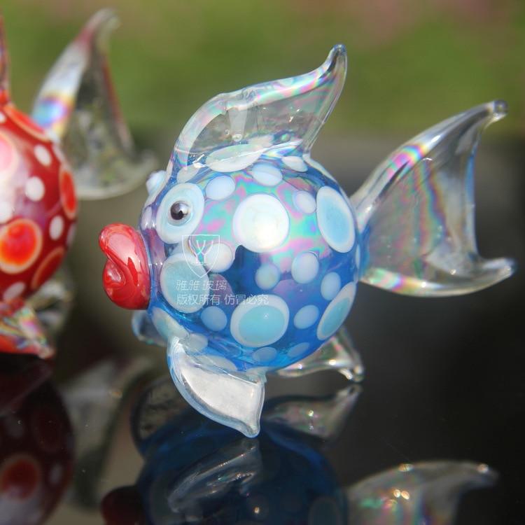 House Decoration Craft Kissing Fish Home Furnishings: O.RoseLif New 3D Goldfish Mascot Standing Fish CUTE Glass