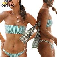 Oiyeefo nuevo verde sin tirantes de rayas bandeau bikini brasileño largo vendaje traje de baño mujeres beach wear traje de baño bañista plavky