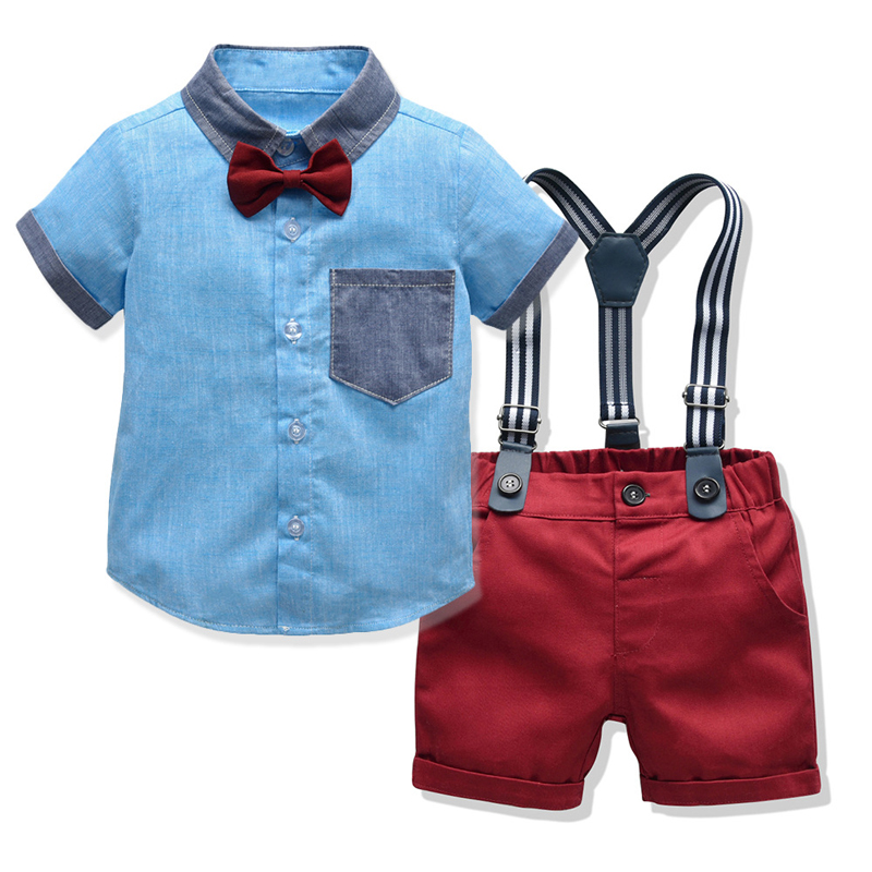 Kids Baby Boys Suit Sets Summer New Blue Shirt +Red Shorts Jumpsuits Birthday Party Gift Children's Formal Clothing 12 3 4 Years 1