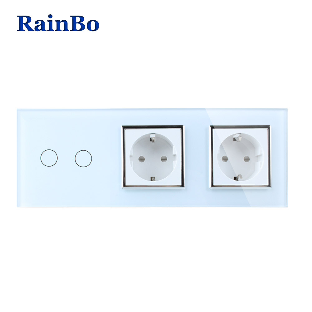 RainBo Brand Crystal Glass Panel Electronic Wall Socket EU Touch Switch Control Screen Light Switch 2gang1way A39218E8ECW/B rainbo touch screen control tempered crystal glass panel wall light touch switch socket wall power usb socket a29118e2uscw b