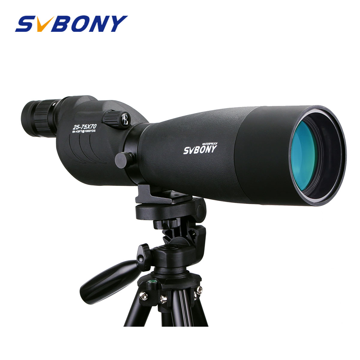 SVBONY SV17 Spotting Scope 25-75x70mm Zoom Waterproof Straight 180 De For Target Hunting Archery Telescope Black + Tripod F9326A