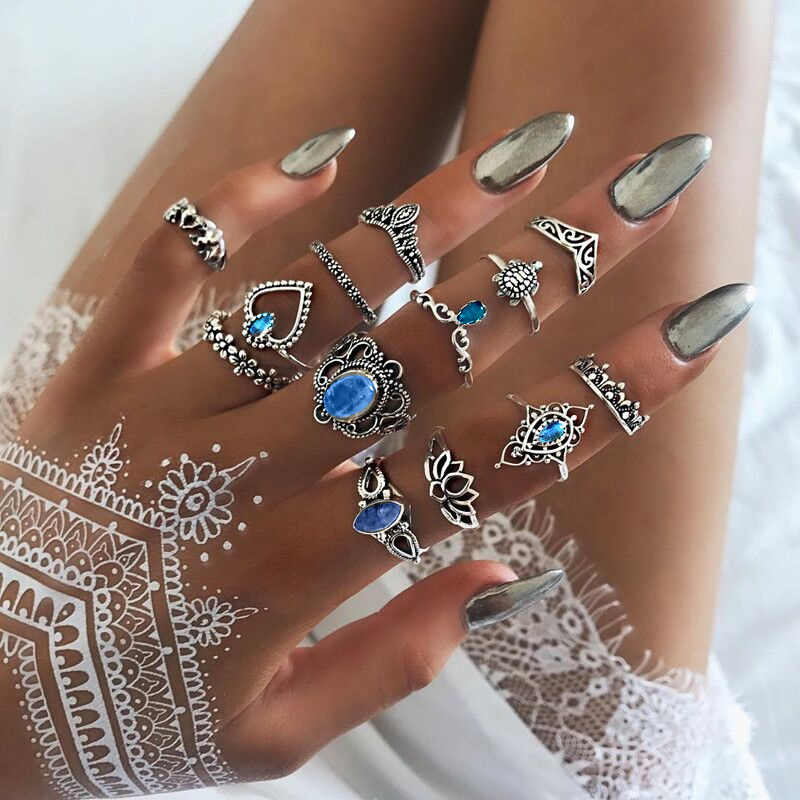 13 pcs/set Finger Ring Set For Women Heart Totem Hollow Crown Turtle Elephant Blue Crystal Water Drop Knuckle Ring Accessories