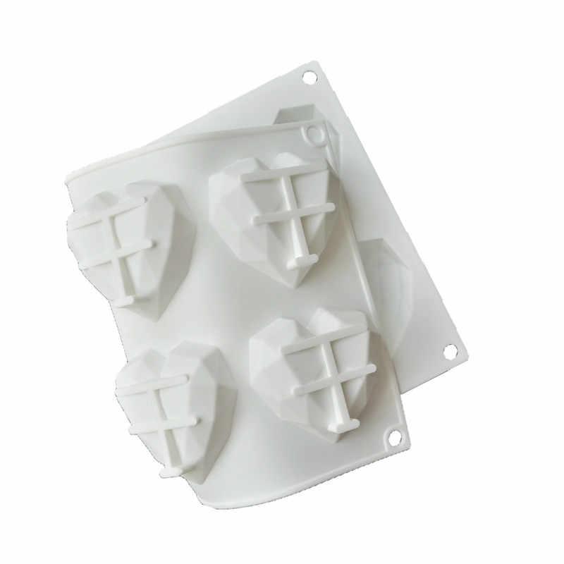 SHENHONG 8 отверстий 3D алмаз в форме сердца форма для торта Мини силиконовая форма льда кремы для шоколада, жаростойкие формы для духовки геометрический Moule Art Кондитерская сковорода