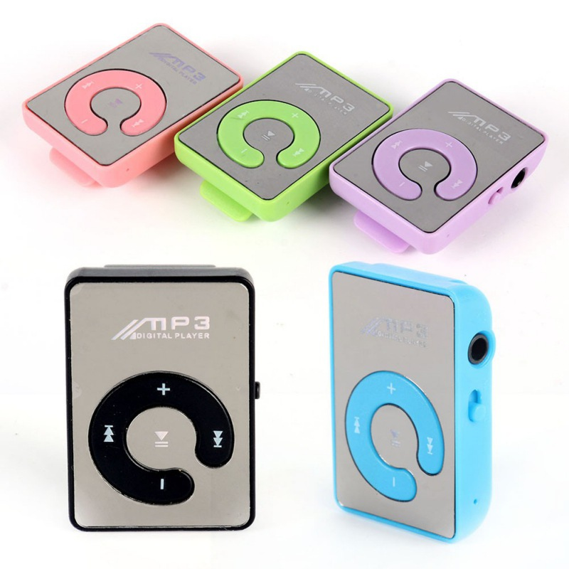 EDAL Mp3 Player Mini Mirror Clip USB Digital Mp3 Music Player Support 8GB SD TF Card 6 Colors