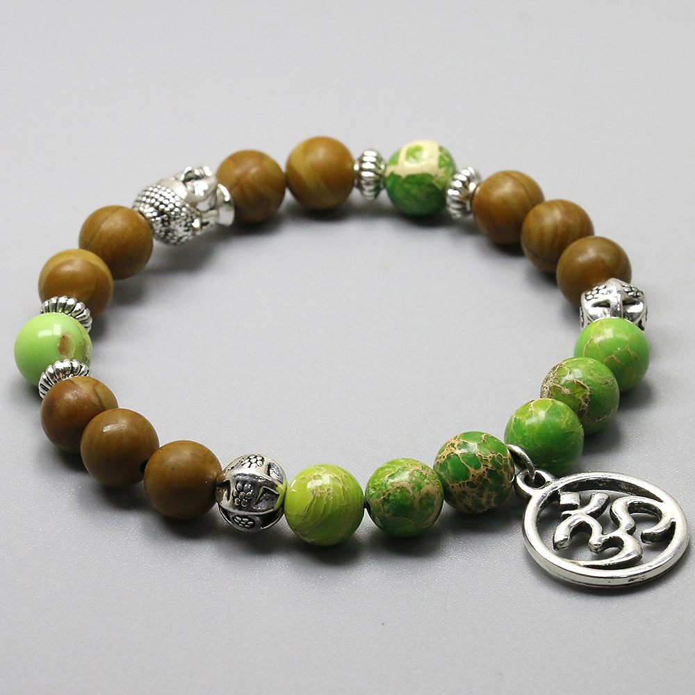Wood and Imperial Stone Om Bracelet 3