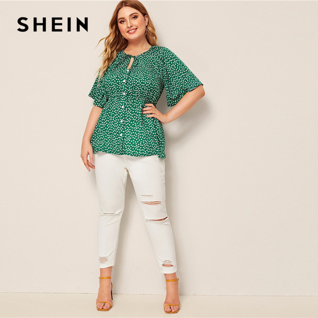SHEIN Plus Size Green Daisy Floral Button Front Knot Peplum Top Blouse Women Round Neck Flare Sleeve Boho Summer Plus Blouses 4