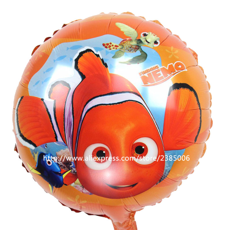 10pcs/lot 45*45cm foil balloons Lovely finding nemo clownfish ballons clown fish nemo helium balloon childrens birthday decor s