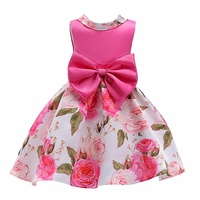 Princess Flower Pink Wedding Dress Baby Girls Ball Gown Dresses Bow Tie Costume Children 2018 Kids Clothing for girls Party