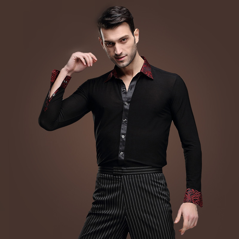Picture of 2016 New Man Latin Dance Chacha Rumba Samba Square Dance Clothes Long Sleeve Shirt Male Adult Modern Dance Costume