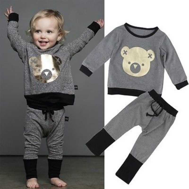 98e4f1c6f 2016 Venta caliente 2 unids niño niños bebé sudor Camisa + Pantalones  trajes ropa Set