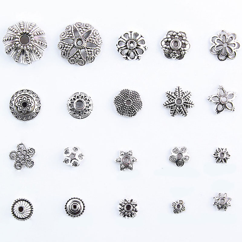 Wholesale Approx 130/200pcs/lot Zinc Alloy End Caps Antique Silver Plated Bead Caps For Jewelry Findings Making Mixed Size