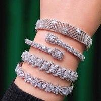 missvikki New BA+RI Luxury Stackable Open Bangle+Ring Set for Women Bridal Wedding Party Show Shiny Charm Ladies Romantic Gift