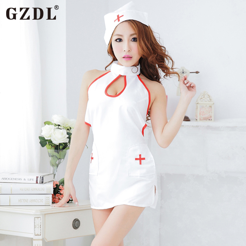 GZDL Womens Lady White Naughty Angel Lolita Nurse Cosplay Sexy Mini Dress Uniform Costume Babydoll Sexy Lingerie 4074