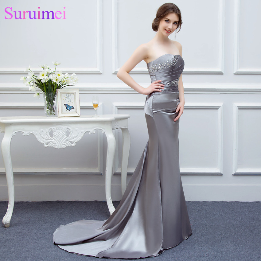 Mother Of The Bride Dresses Gray High Quality Mermaid Wedding Party Dress Women Long Evening Gown