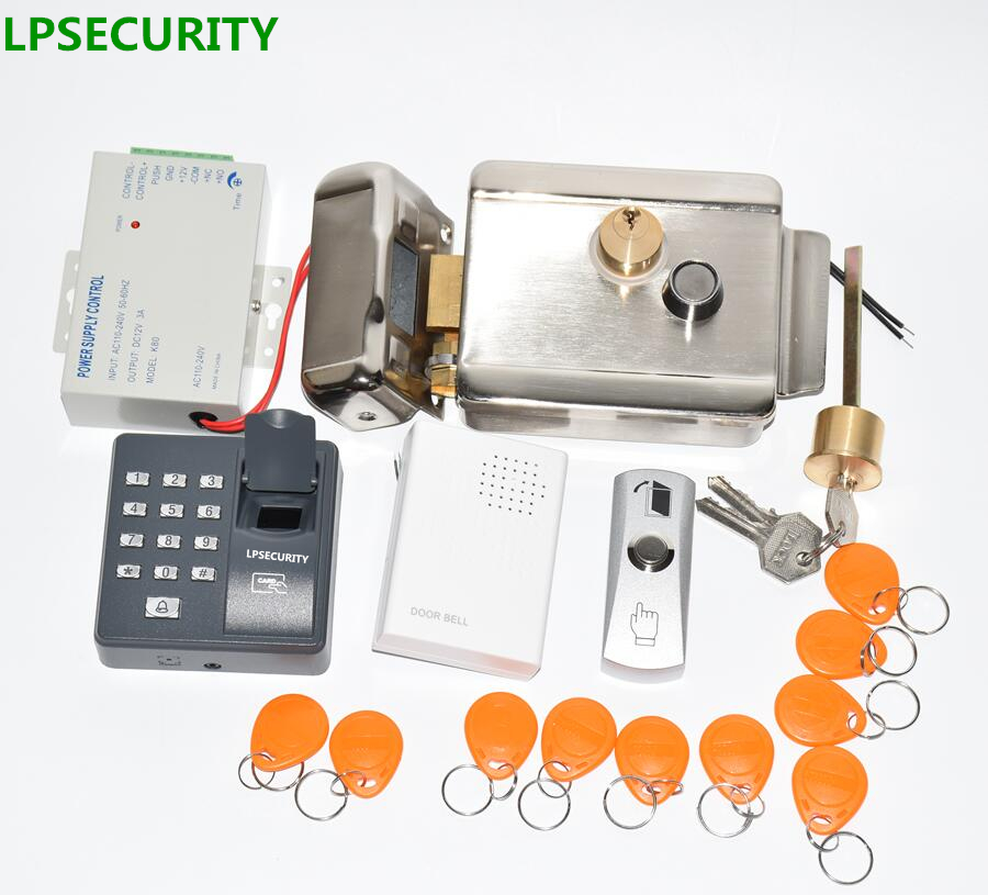 LPSECURITY 12VDC Fingerprint RFID Access Control Electric Gate Door Lock Kit With 10 ID Tags For Home Factory Gate Door