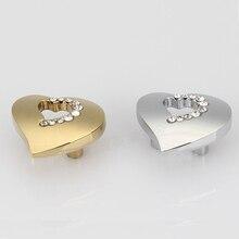 31*36 мм форме сердца хромированный цинковый сплав кристалл мебель ящика шкафа на одно отверстие ручки выдалбливают
