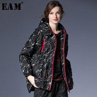 [EAM] 2018 Новый осень зима с капюшоном с принтом свободные молнии Эластичный раза нерегулярные ветровка Для женщин модная куртка JI020