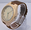 Venda quente Da Moda Relógio De Madeira Natrual Bambu Relógio de Pulso Com Pulseira De Couro Genuíno Relógio de Quartzo Homens Relógio Dom Mulheres