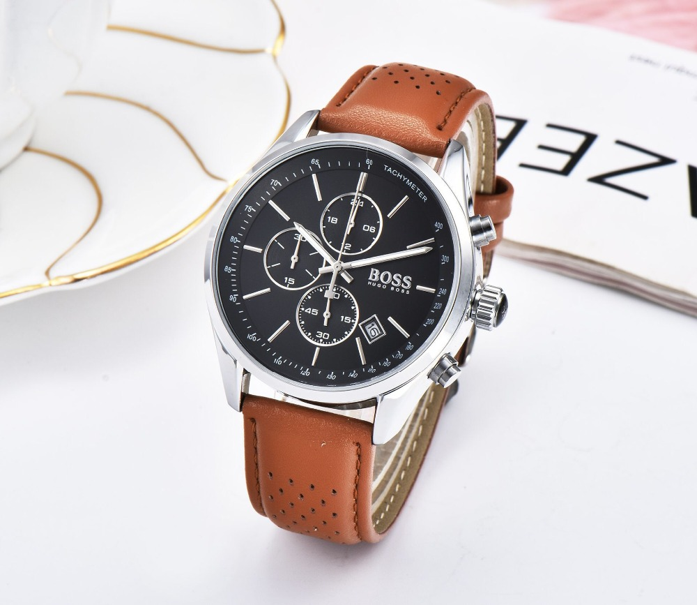 BOSS 2019 hommes montre en cuir automatique Date montres à Quartz marque de luxe étanche Sport montres à Quartz Relogio Masculino - 3