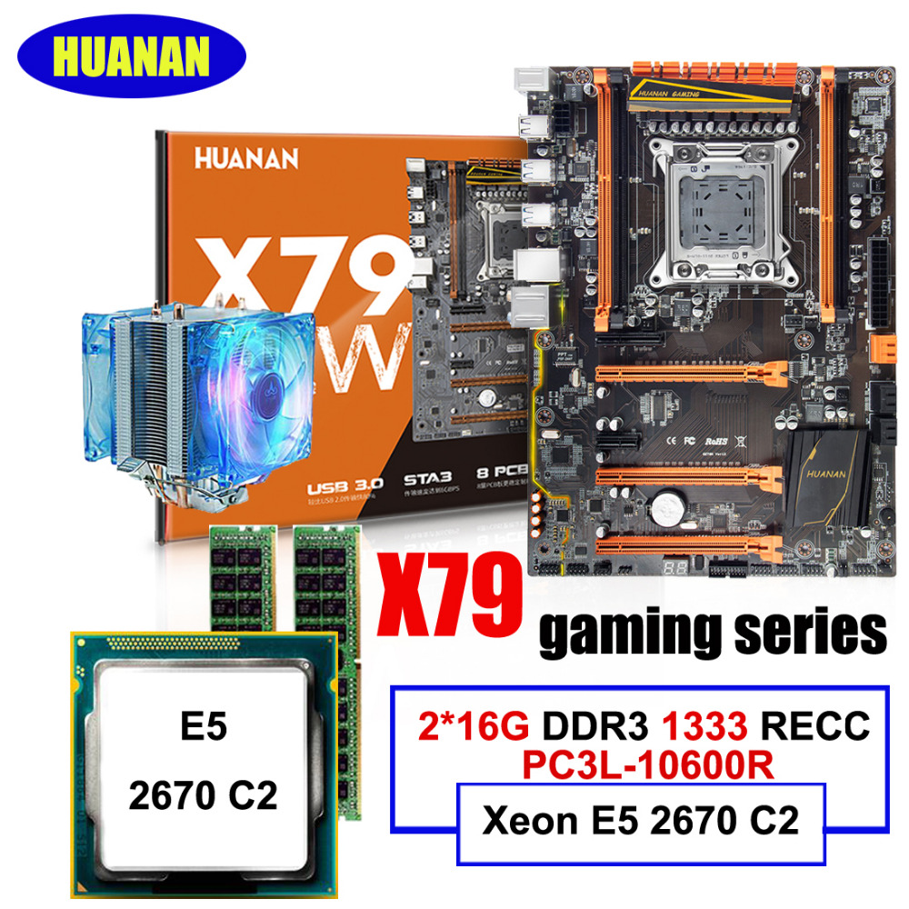 HUANAN deluxe motherboard CPU RAM Combos X79 gaming motherboard Xeon E5 2670 C2 32G(2*16G) DDR3 1333MHz RECC with CPU