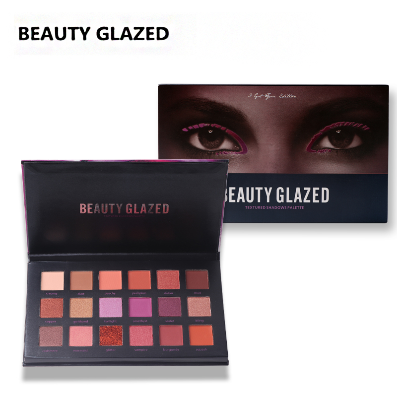 BEAUTY GLAZED Brand Hot Sale 18 Colors Eye Shadow Easy To Wear Eyeshadow Natural Matte Shimmer Palette Long-lasting Eyes Makeup