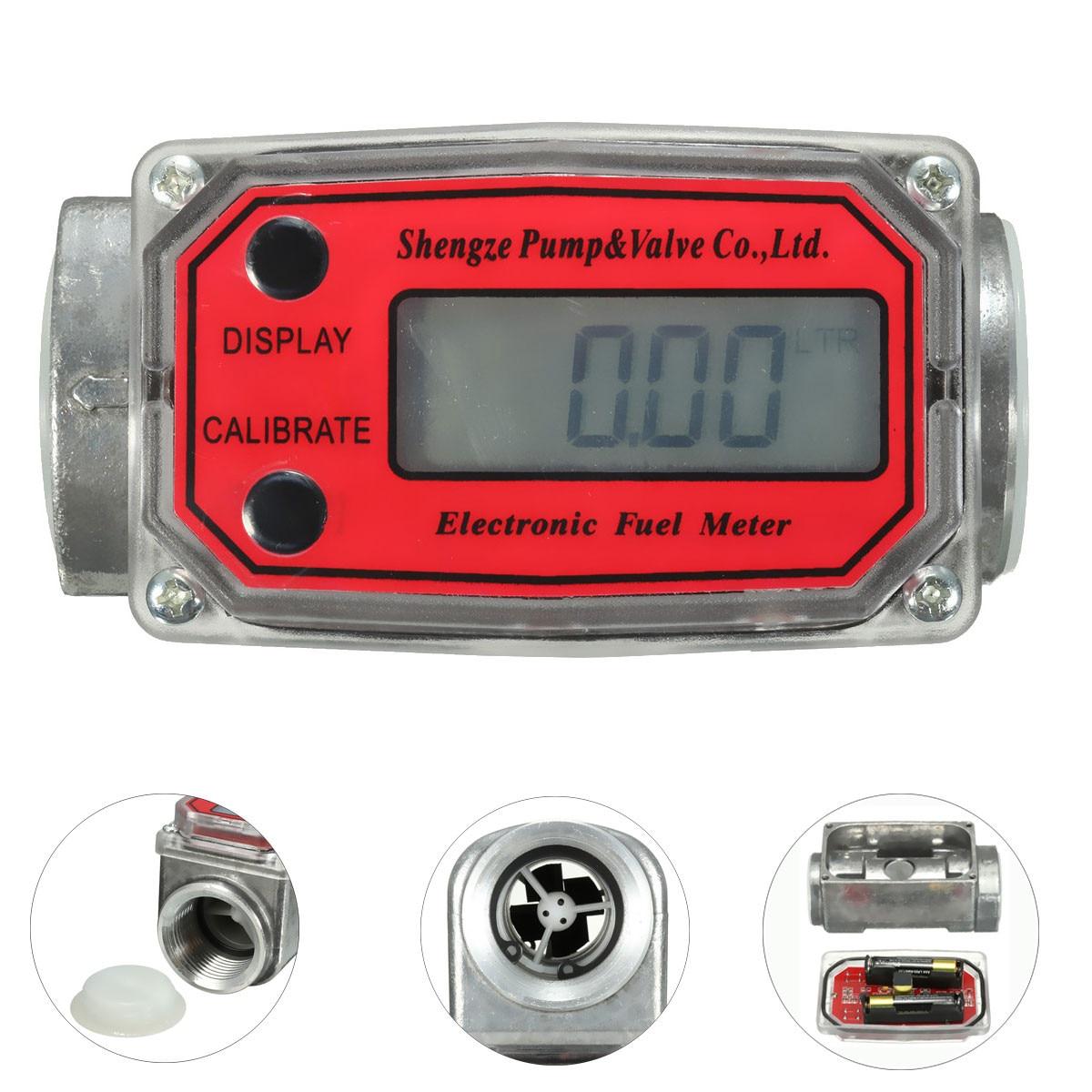 LCD Min Digital Flow Meter 15-120L Gear Flowmeter Kerosene Diesel Fuel Gasoline Liquid Water Flow Meter Measure Tools title=