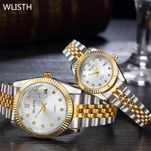 WLISTH Moda Parejas Relojes de pulsera de Los Hombres/de Las Mujeres amantes de las mujeres Viste el reloj de acero Llena de marcas de lujo Relogios Cuarzo Pareja Relojes