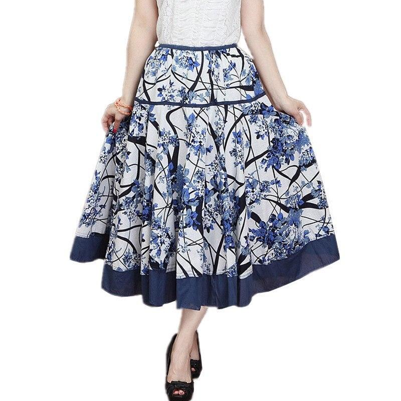 Women Linen Cotton Maxi Skirt Long A-line Pleated Ethnic Beach Vintage Casual