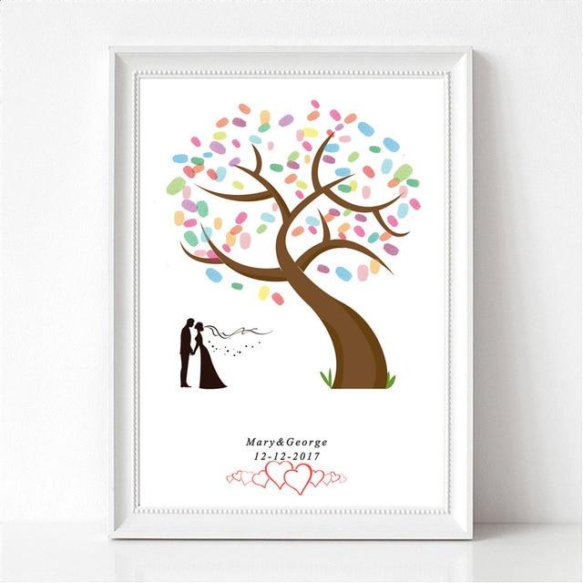 Love Couple Fingerprint Tree Signature Canvas Print Wedding Tree ...