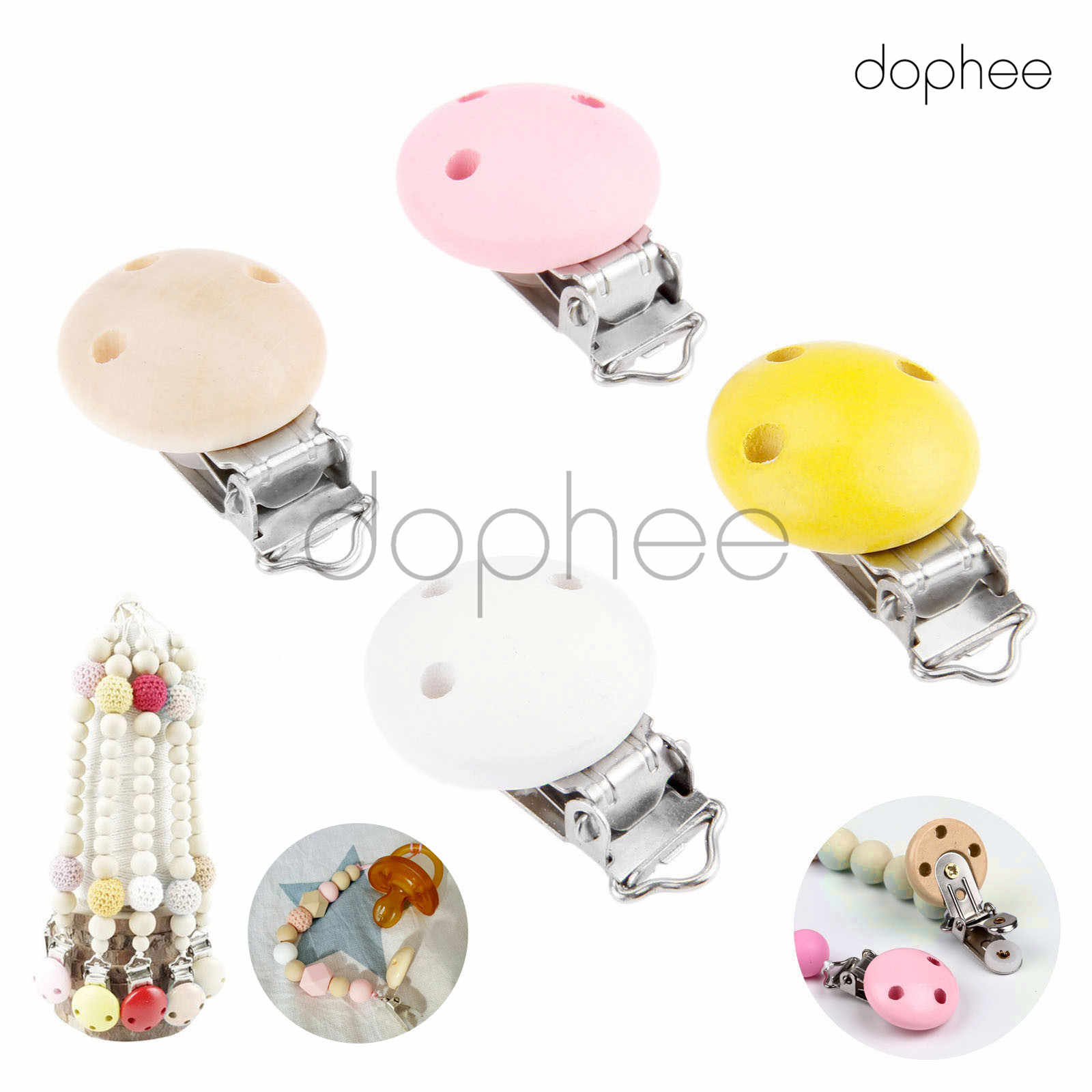 dophee 10pcs Multi-Color Natural Wooden Baby Pacifier Clips Soother Infant Dummy Holder Round Nipple Clasps For Baby Teether Toy